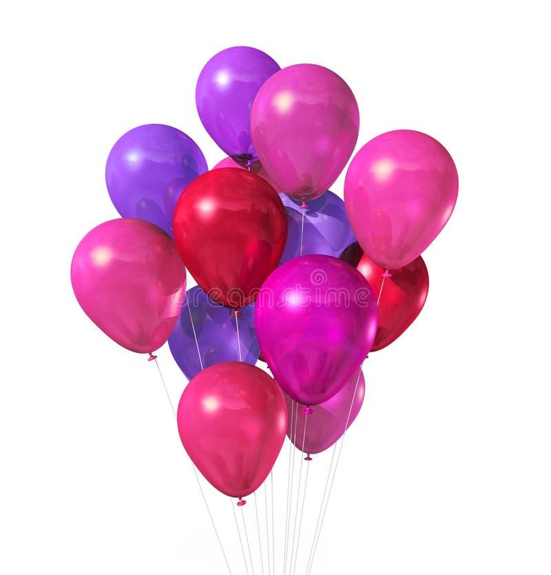 Grupo cor-de-rosa dos balões isolado no branco ilustração stock