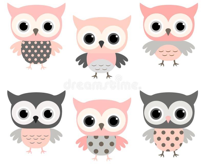 Grupo cor-de-rosa e cinzento bonito do vetor das corujas dos desenhos animados ilustração do vetor