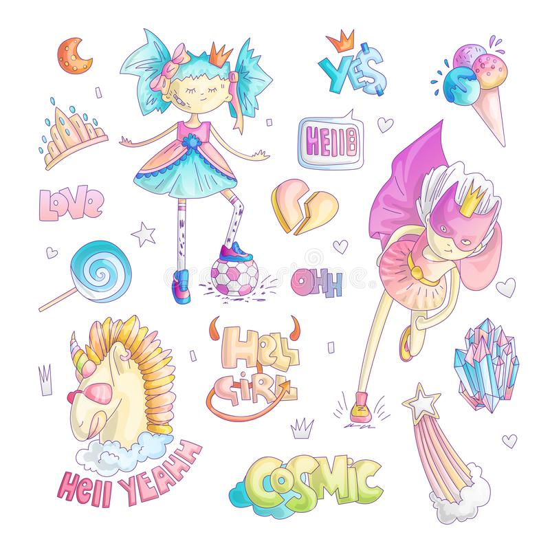 Grupo corajoso dos desenhos animados do vetor da princesa do marimacho Mágica da princesa e ilustração do feminismo, menina adole ilustração royalty free