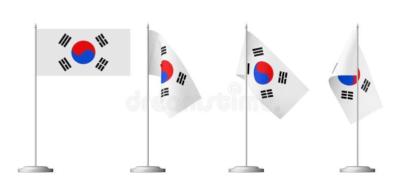 Grupo coreano pequeno da bandeira da tabela ilustração royalty free