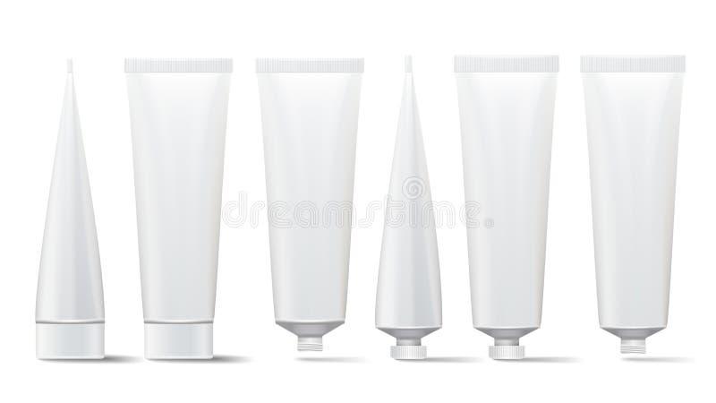 Grupo cosmético do tubo Zombaria do vetor acima O cosmético, creme, pasta de dente, cola os tubos plásticos brancos abertos e o e ilustração royalty free