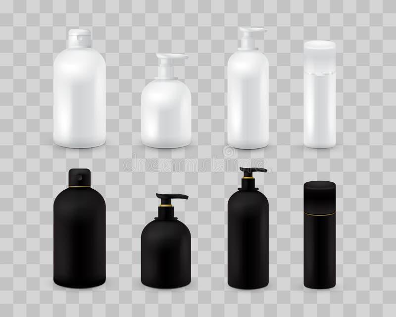 Grupo cosmético vazio da coleção do pacote isolado em quadriculado transparente Zombaria cosmética realística da garrafa configur ilustração do vetor