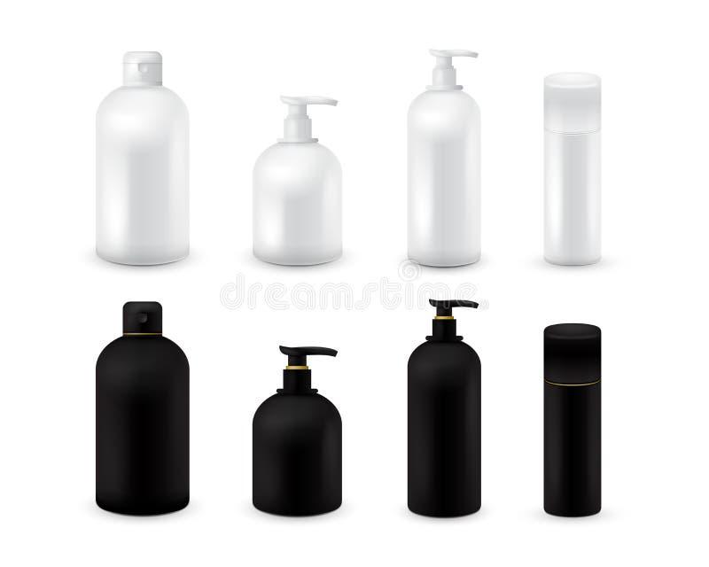 Grupo cosmético vazio da coleção do pacote isolado no fundo branco Zombaria cosmética realística da garrafa configurada Champô e ilustração stock