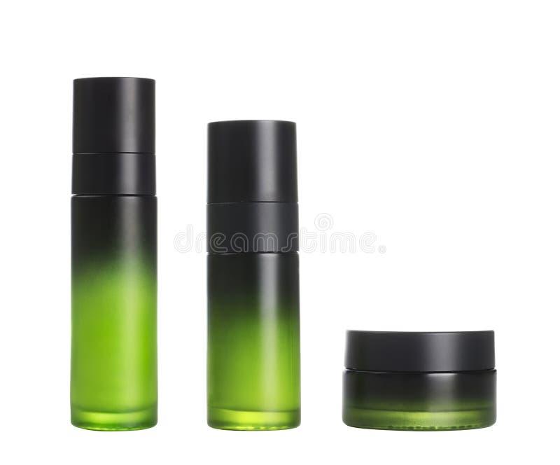 Grupo cosmético verde do recipiente fotos de stock royalty free