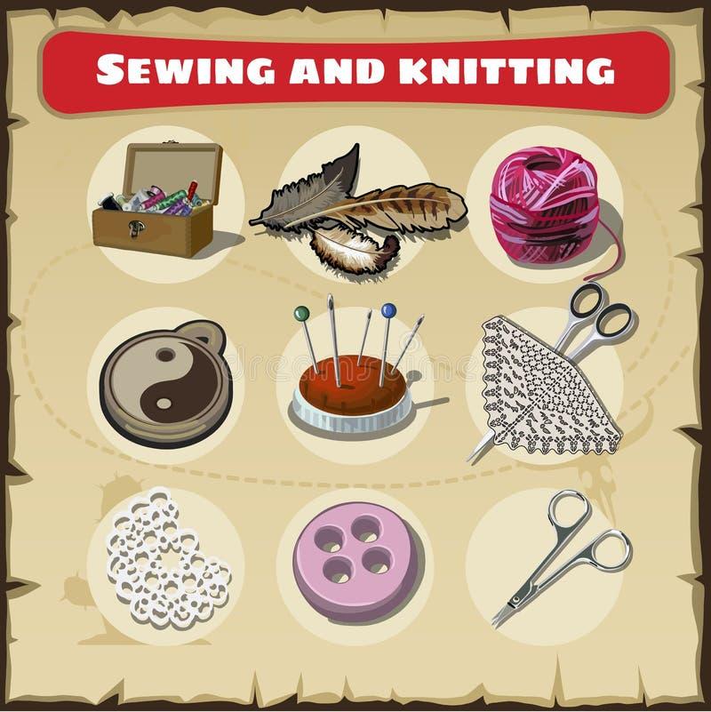 Grupo costurando e de confecção de malhas ilustração royalty free