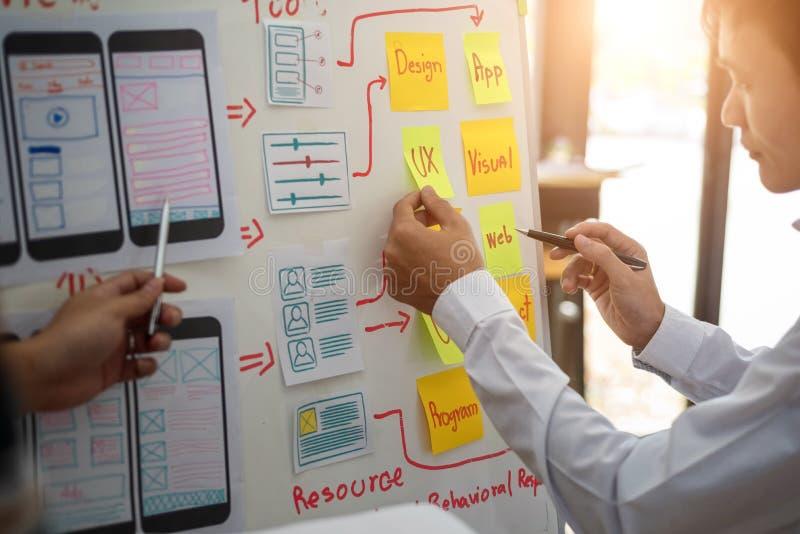 Grupo creativo del diseñador de UX que trabaja sobre proyecto de aplicación móvil de cepillado con las notas pegajosas Concepto d imagen de archivo libre de regalías