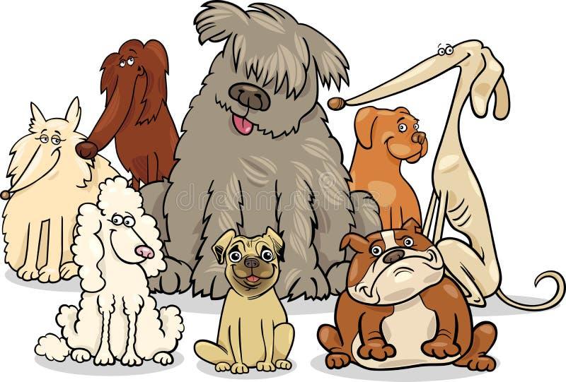 Grupo criado en línea pura de los perros de la historieta ilustración del vector