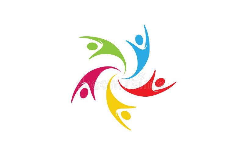 Grupo criativo colorido Team Logo de cinco povos ilustração royalty free