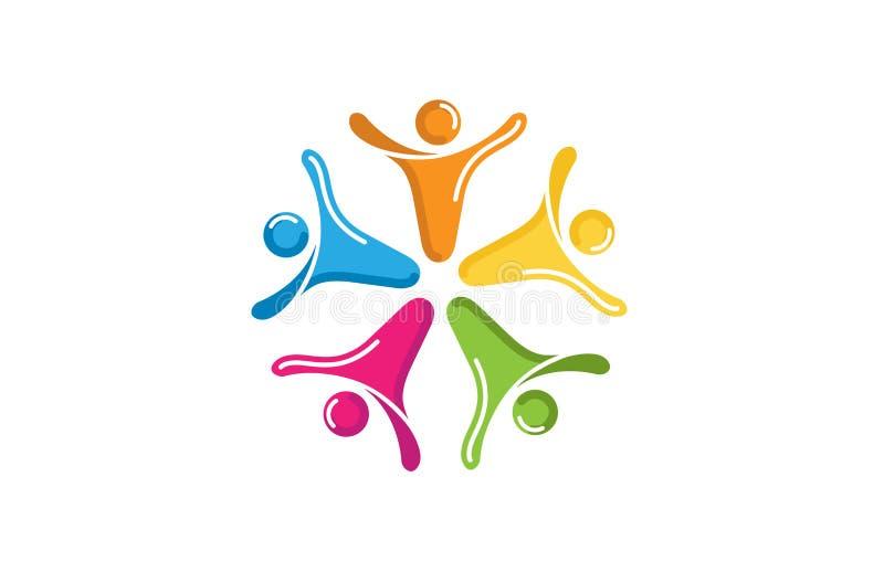 Grupo criativo colorido Team Logo do sumário cinco dos povos ilustração do vetor