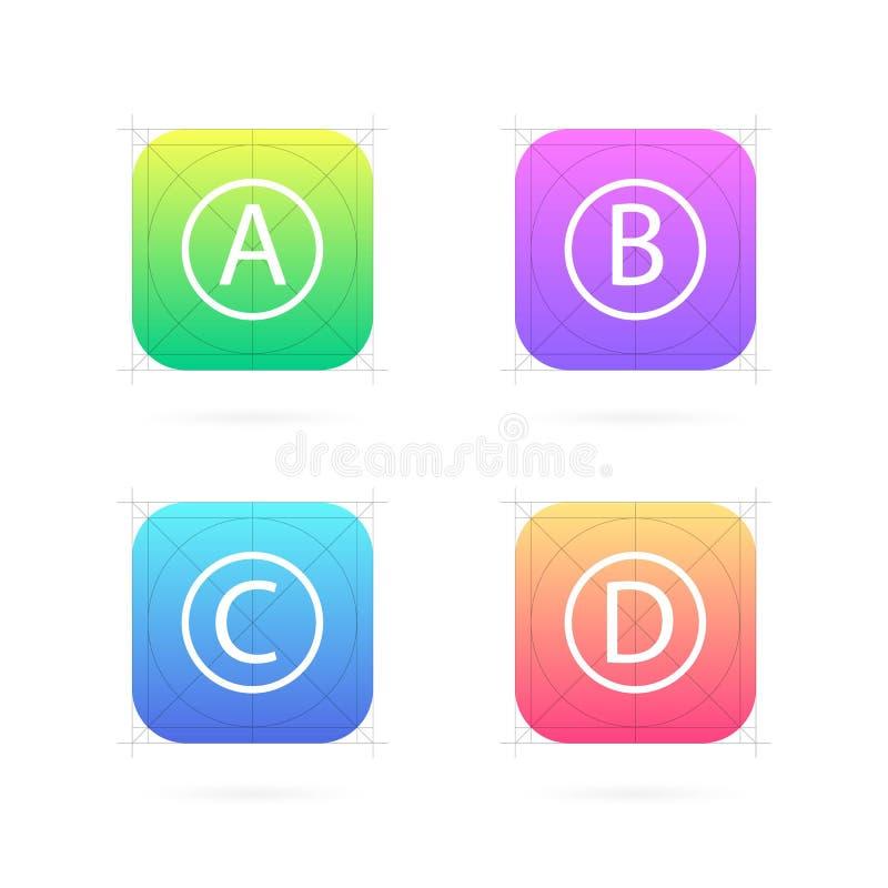 Grupo criativo da ilustração do vetor de molde do ícone do app com as diretrizes, grades isoladas no fundo Relações do projeto da ilustração royalty free