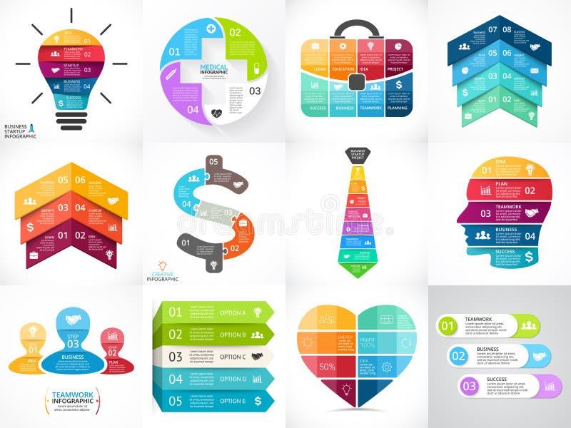 Grupo criativo do infographics das setas do vetor, diagramas, gráficos, cartas 3, 4, 5, 6, 7, 8 dão um ciclo opções, peças, etapa ilustração do vetor