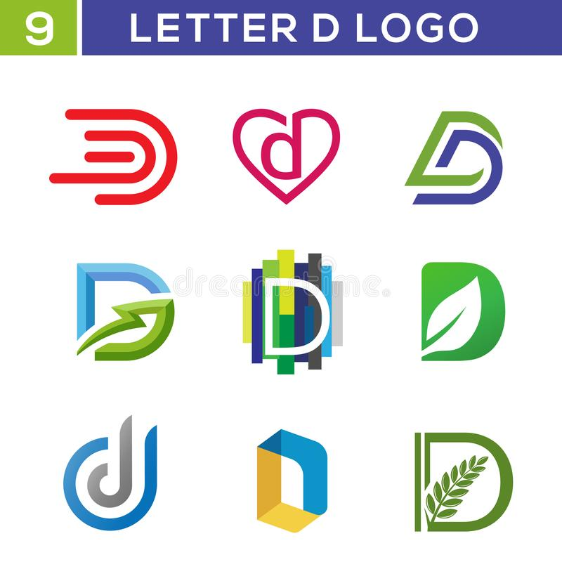 Grupo criativo do logotipo da letra D ilustração stock