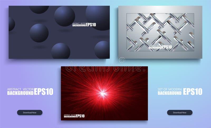 grupo 3D de fundos coloridos abstratos Projeto moderno do molde de tampas Grupo de holográfico na moda ilustração stock