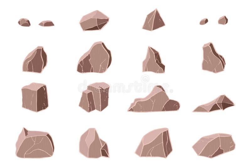 grupo 3D de pedra realístico ilustração royalty free
