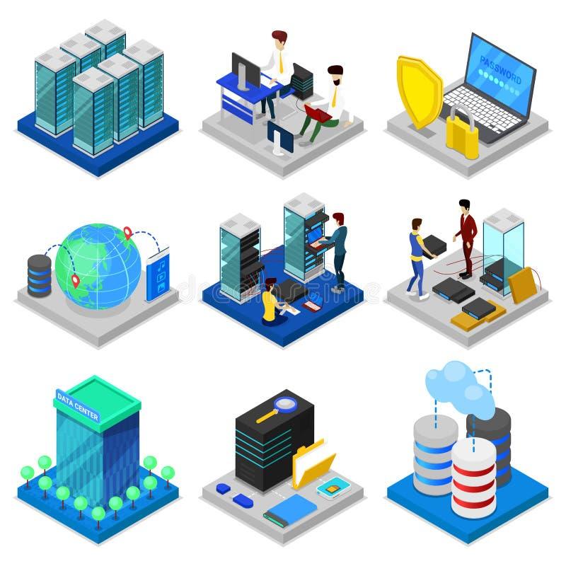 Grupo 3D isométrico do centro de dados ilustração stock