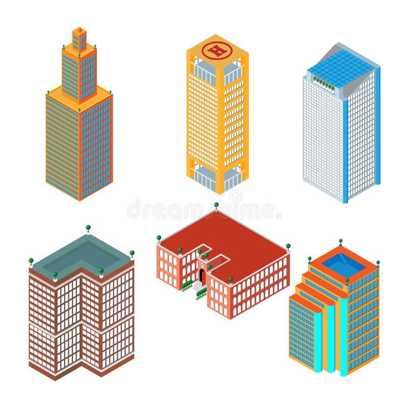 Grupo 3d isométrico liso de arranha-céus coloridos, construções, escola Isolado no fundo branco para mapas dos jogos ilustração do vetor