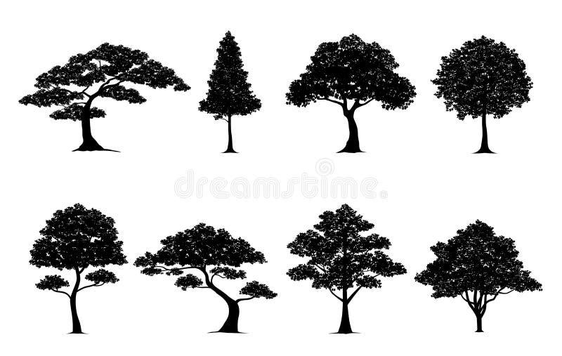 Grupo da árvore da silhueta ilustração stock