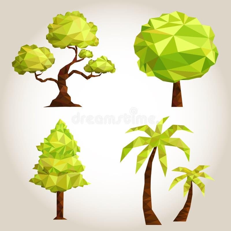 Grupo da árvore do polígono fotografia de stock