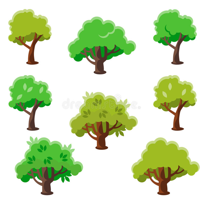 Grupo da árvore dos desenhos animados, ilustração lisa do vetor ilustração royalty free