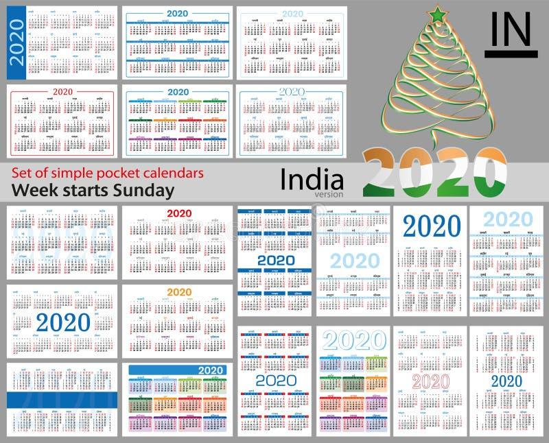 Grupo da Índia de calendários do bolso para 2020 ilustração stock