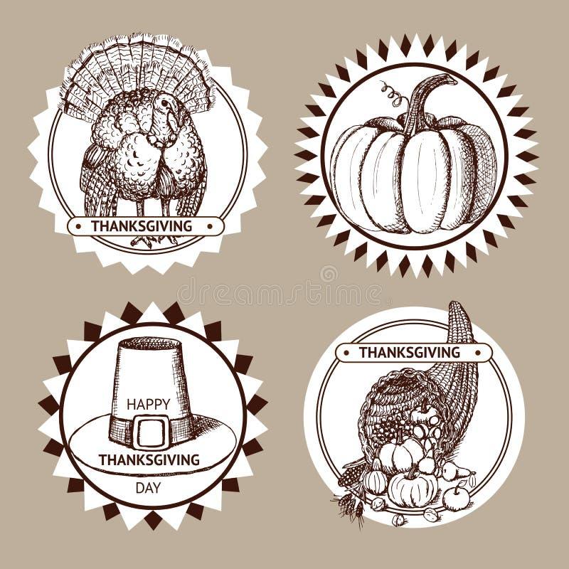 Grupo da ação de graças do esboço de etiquetas ilustração stock