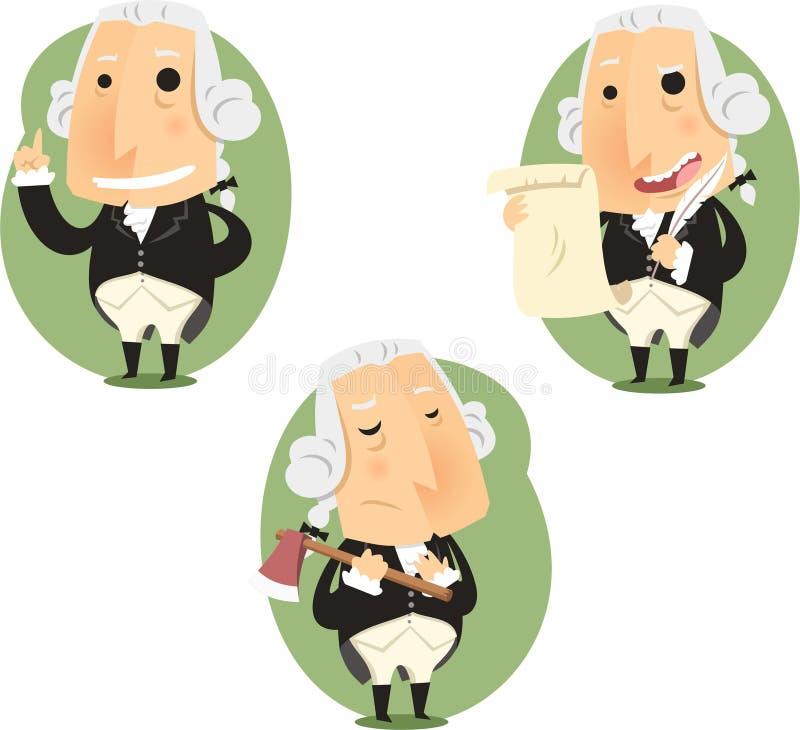 Grupo da ação dos desenhos animados do presidente George Washington ilustração royalty free