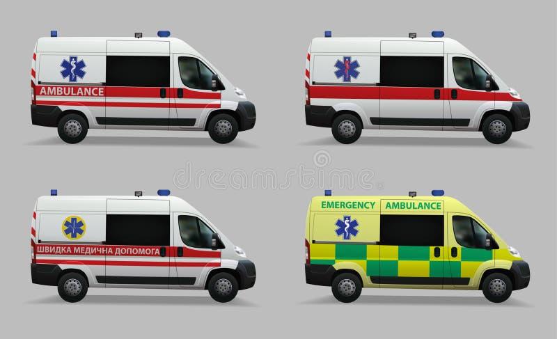 Grupo da ambulância da emergência Veículos médicos especiais Projeto de países diferentes do mundo Imagem realística Vetor Illust ilustração royalty free