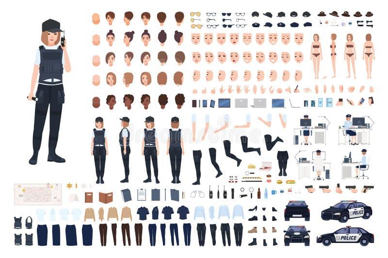 Grupo da animação da policial ou jogo de DIY Pacote de partes do corpo fêmeas do agente da polícia, caras, penteados, uniforme, r ilustração royalty free