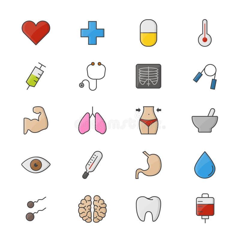 Grupo da aptidão e da saúde de ícones lisos do estilo médico do ícone da cor ilustração do vetor