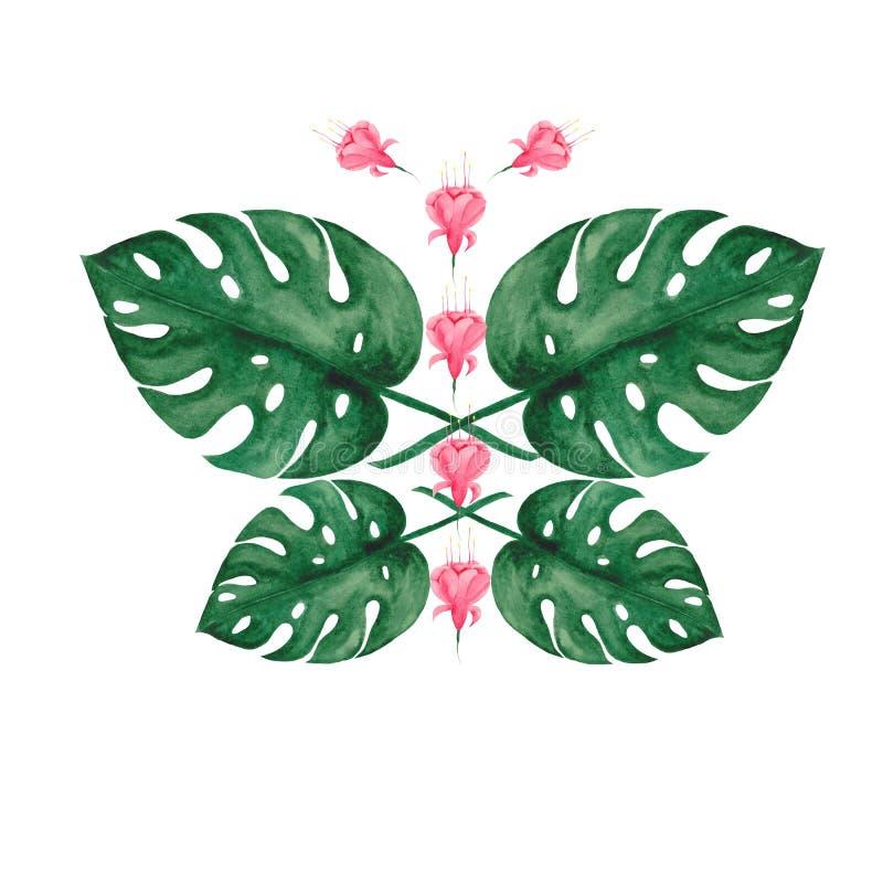Grupo da aquarela com folhas e as flores tropicais ilustração do vetor