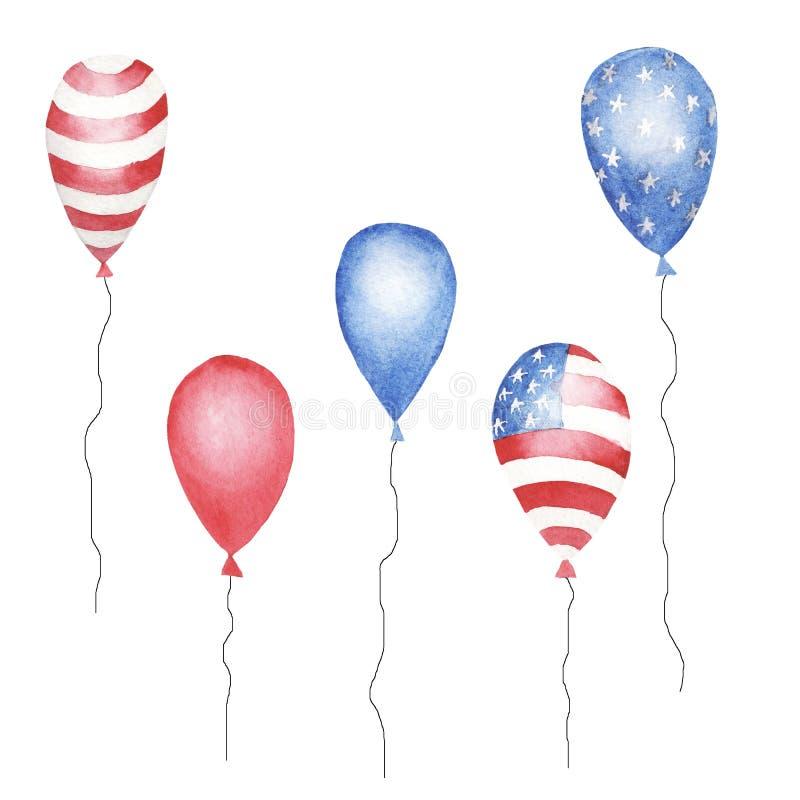 Grupo da aquarela de baloons azuis, vermelhos listrado e de estrelas da cor imagem de stock
