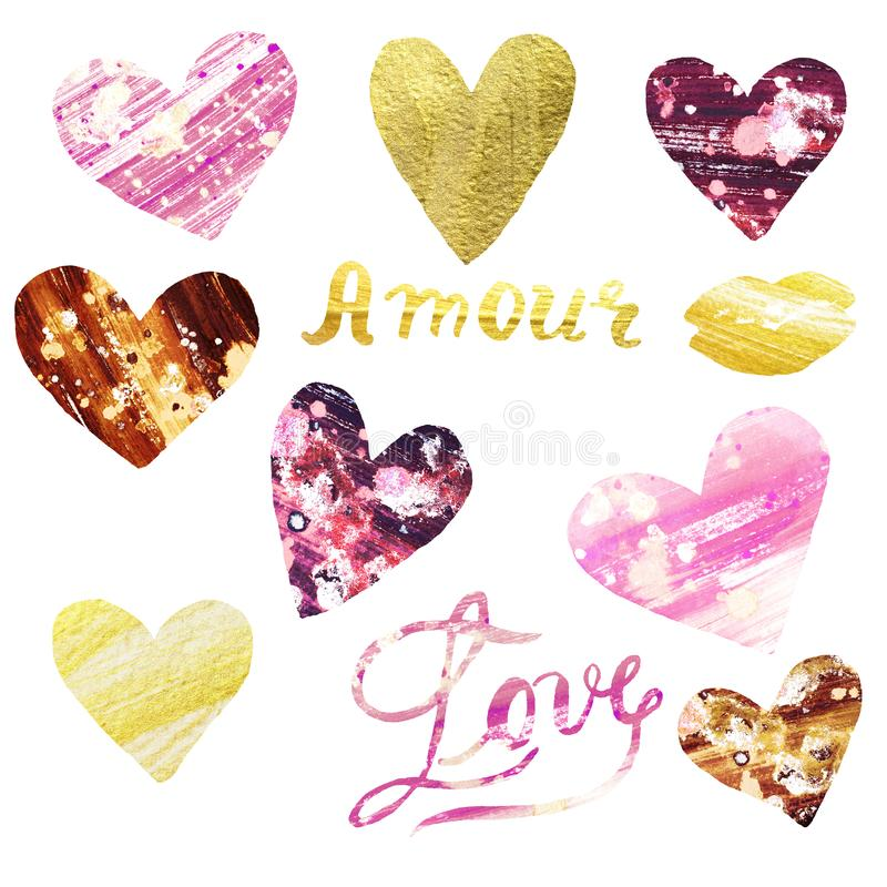 Grupo da aquarela de corações pintados à mão do rosa e do ouro Ilustração de símbolos do amor imagem de stock royalty free