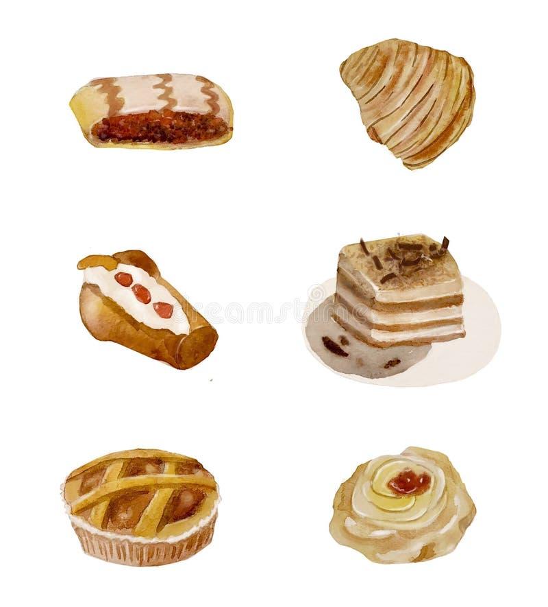Grupo da aquarela de doces tradicionais italianos Seis sobremesas saborosos de Nápoles foto de stock