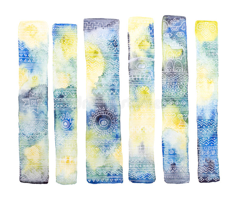 Grupo da aquarela de elementos do totem ilustração do vetor