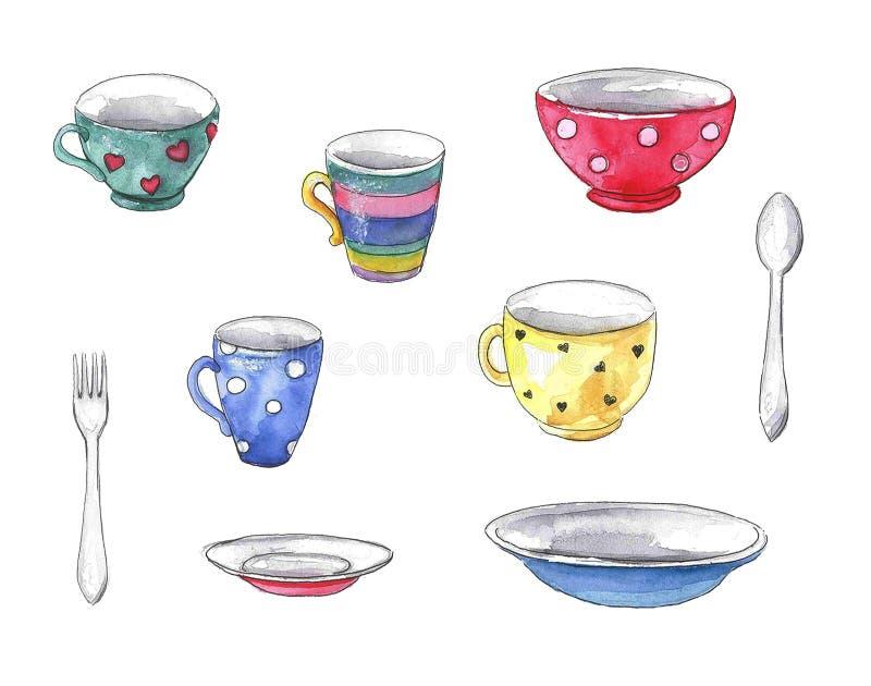 Grupo da aquarela de pratos ilustração stock