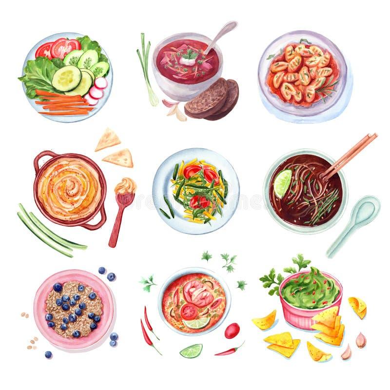 Grupo da aquarela de pratos diferentes ilustração stock