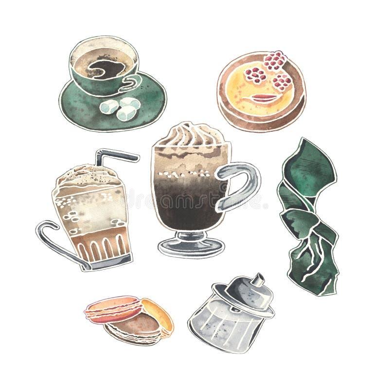 Grupo da aquarela de vidros vienenses do café, de sobremesas, de açucareiro e de xícara de café bonito ilustração do vetor