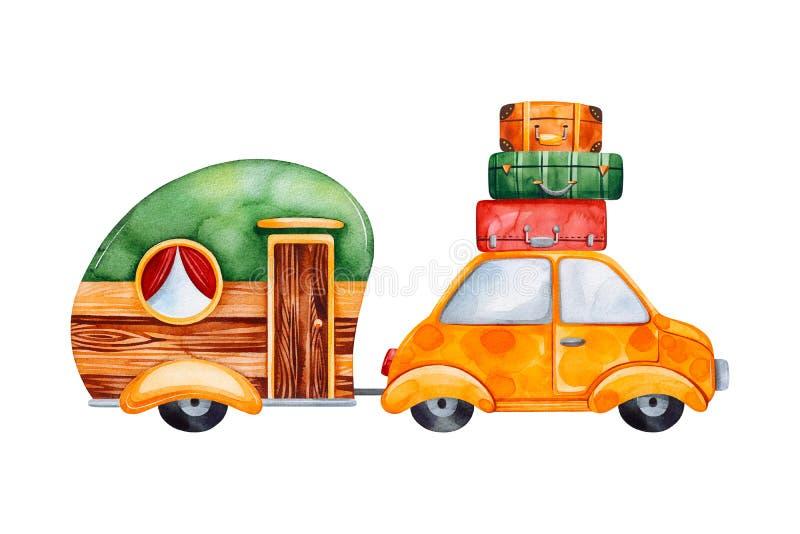 Grupo da aquarela do curso com acampamento da caravana e o carro amarelo ilustração royalty free