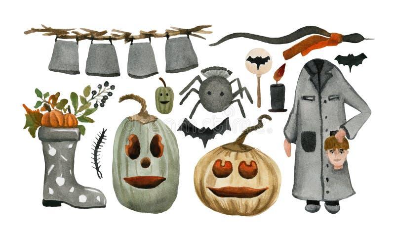Grupo da aquarela do Dia das Bruxas dos desenhos animados Isolado ilustração stock