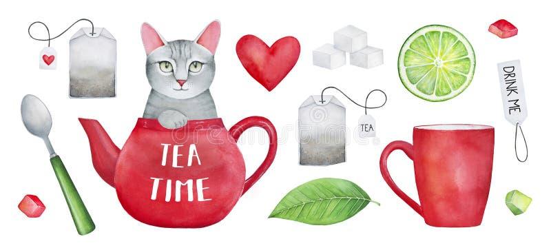 Grupo da aquarela do ` do tempo do chá do ` foto de stock