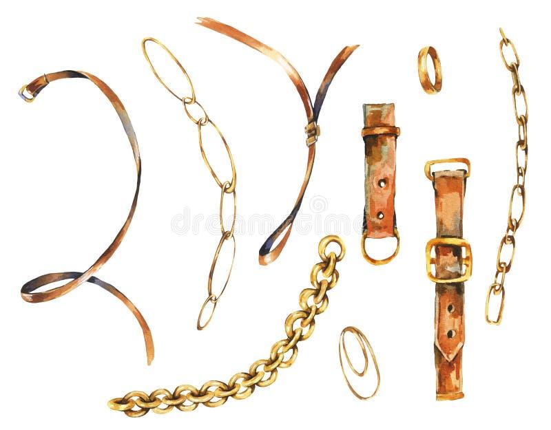 Grupo da aquarela do vintage de elementos da correia de couro, de anéis de ouro e de correntes, coleção glamoroso elegante isolad ilustração stock