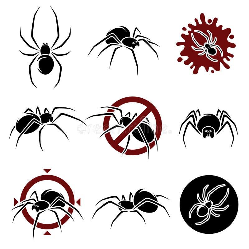 Grupo da aranha Vetor ilustração stock