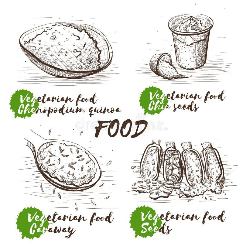 Grupo da arte da ilustração do vetor Esboço preto e branco Cru, vegetariano, alimento do vegetariano Desenhos animados ajustados  ilustração stock