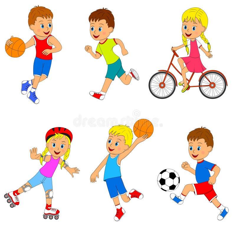 Grupo da atividade dos esportes das crianças ilustração royalty free