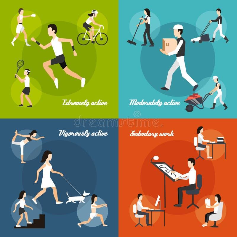 Grupo da atividade física ilustração royalty free