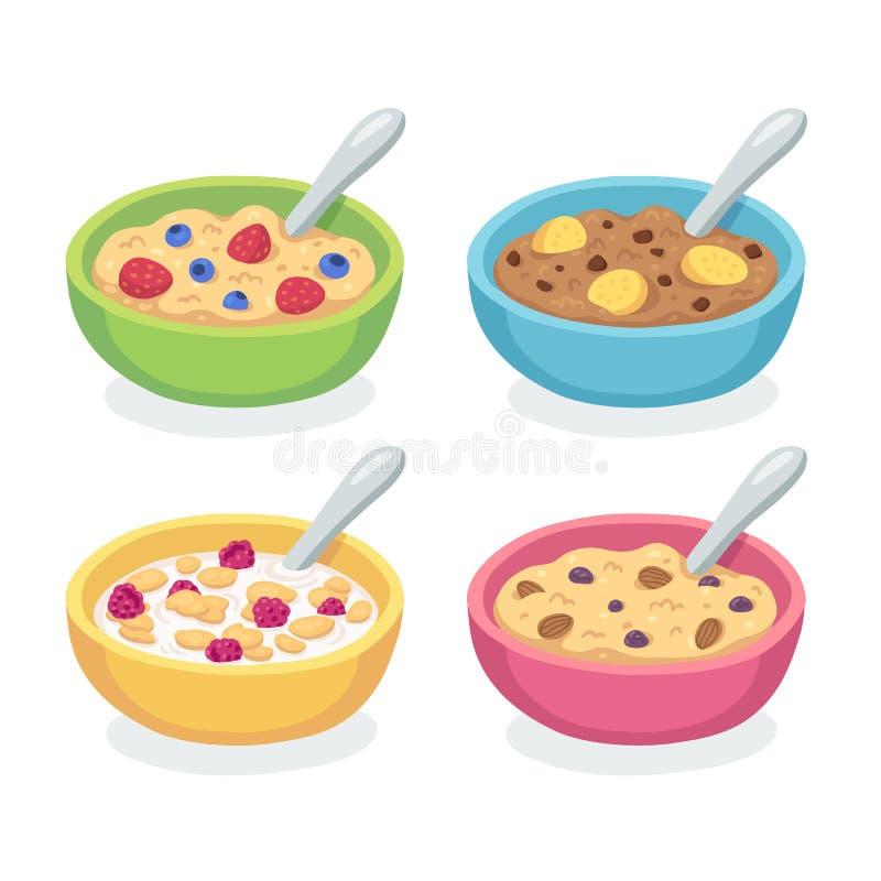 Grupo da bacia do café da manhã ilustração stock