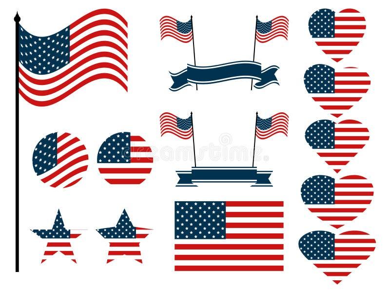 Grupo da bandeira americana Coleção dos símbolos com a bandeira do Estados Unidos da América Vetor ilustração royalty free