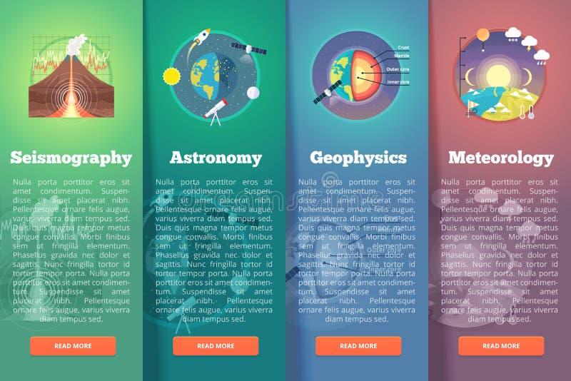Grupo da bandeira da ciência do planeta da terra seismography astronomia geophysics meteorologia Disposição do vertical da educaç ilustração stock