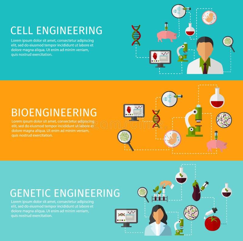 Grupo da bandeira da biotecnologia três ilustração do vetor