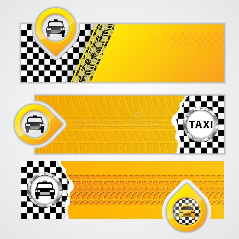 Grupo da bandeira da empresa do táxi de 3 ilustração do vetor